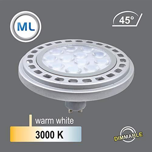 Qpar111 Roncalli 111 - Bombilla LED (casquillo GU10, 12 W, 3000 K, 4000 K, ángulo de haz de 45°/120°, diámetro equivalente a halógeno de 90 W), aluminio, plata, 3000K Dimmbar 45° - 6383, GU10