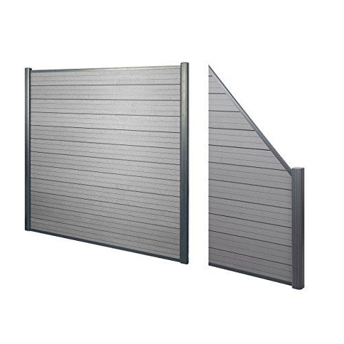 Mendler WPC-Sichtschutz Sarthe, Windschutz Zaun, Alu-Pfosten ~ 2er Set schräg, 2,82m grau