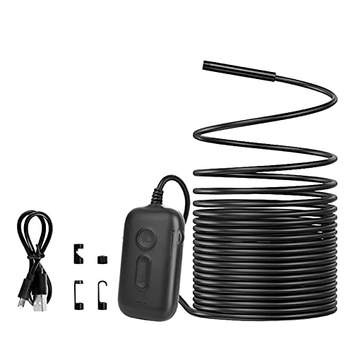 Boyuan Endoscopio inalámbrico, Zoom 3X 1920 * 1080 HD Cámara de inspección inalámbrica 2.0MP 5.5mm Boroscopio WiFi Cámara semirrígida de Serpiente con 4 Luces LED, Cable semirrígido de 10 m