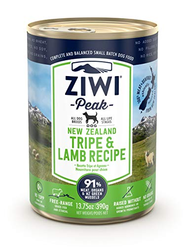 ZIWI Peak Canned Wet Dog Food – All Natural, High Protein, Grain Free, Limited Ingredient, with Superfoods (Tripe & Lamb, Case of 12, 13.75oz Cans)