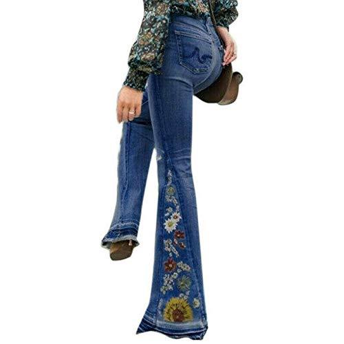 Puimentiua Pantalones Lápiz de Mujer de Ancha Pierna Jeans Vaqueros Estampados de Cintura Alta