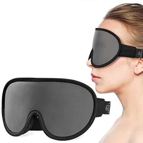 Schlafmaske,Orihea Augenmaske zum Schlafen mit Atmungsaktiver 3D Formgedächtnis-Schaum,Konturiertes und modulares Design,Für Nickerchen/Reise,100% Lichtblockierend Schlafmaske Für Männer & Frauen