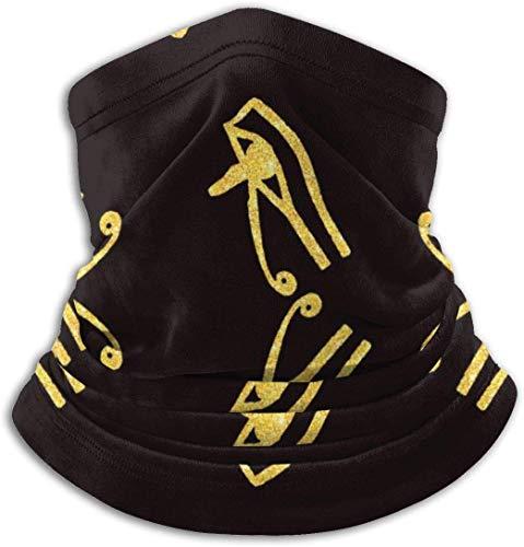 Aeykis Gold Glitter Eye On Black Pattern.jpg Neck Warmer Outdoor Windproof Dust-Free, Walking, Running, Neck Gaiter