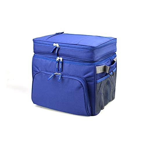 LQIAN 30L A Prueba de Fugas de Dos particiones Thicken Cooler Bag Ice Pack Alimentos Bebidas Vino Vehículo Hombro Aislado Bolsa Fresca Almuerzo Caja de Picnic Bolsa de Vino portátil aislada