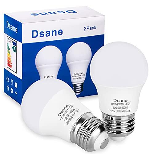 Dsane LED Refrigerator Light Bulb 40Watt Equivalent 120V A15 Fridge Waterproof Standard Bulbs 5W Daylight White 5000K E26 Medium Base, Freezer Kitchen Ceiling Home Lighting Lamp Non-dimmable (2 Pack)