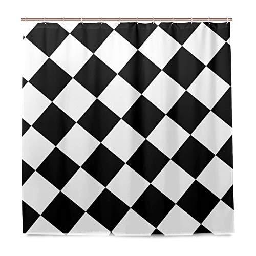 MALPLENA Duschvorhang kariert weiß schwarz Quadrate Badvorhang mit Haken, ungiftig & wasserabweisend, Badezimmer-Deko-Sets, Hochzeitsgeschenke für Männer & Frauen, Polyesterstoff, 182,9 x 182,9 cm