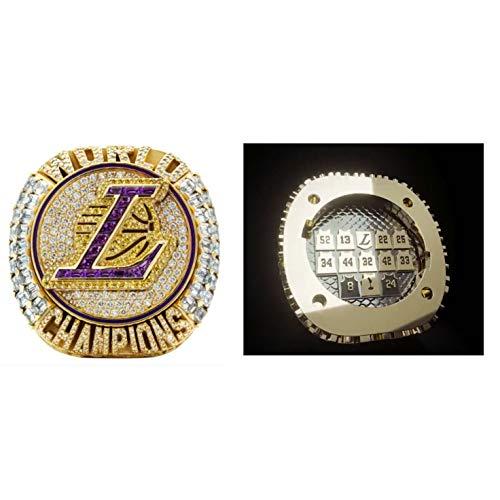 Edición Limitada #24 para Kobe 2020 Lakers Campeonato Anillo Versión Oficial Desmontable Anillo de Campeonato Anillo de Campeonato con Anillo de Campeonato Caja de Madera para la Colección de Aficionados Regalo, talla 9