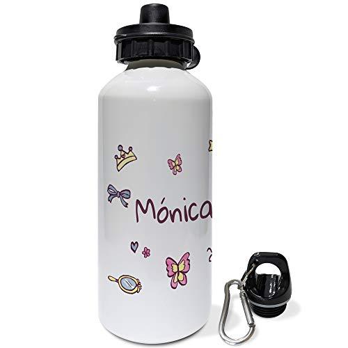 Lolapix Borraccia Bici Bambino Personalizzata con Nome. Regali per Bambini Personalizzati. Borraccia Alluminio Personalizzata. 500ml. Ballerina Rosa