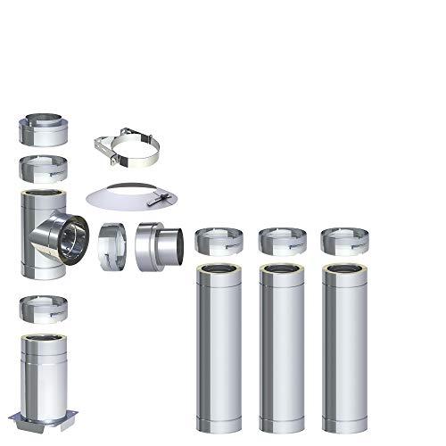 H&M DW New-Line Schornstein-Paket 4,2m Ø 120mm Edelstahl Bausatz doppelwandig 25mm Isolierung 0,5mm Wandstärke Design Aussen-Kamin Set Holz-Ofen Kamin-Einsatz