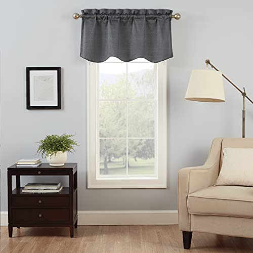 """Eclipse Canova Blackout Thermaback Window Valance Curtains for Kitchen or Bathroom, 42"""" x 21"""", Charcoal"""
