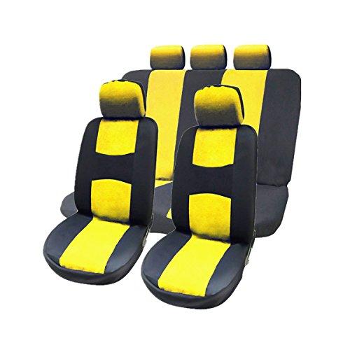 WINOMO 9 pièces de Ensemble complet housses de siège de voiture avec appui-tête amovibles Housses de Banc deux intérieur ajustement universel (jaune)