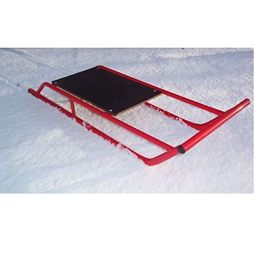 DrillMan Schneeschlitten/Rodel/Schlitten aus Stahl mit Holz-Oberschlitten/Bobslei