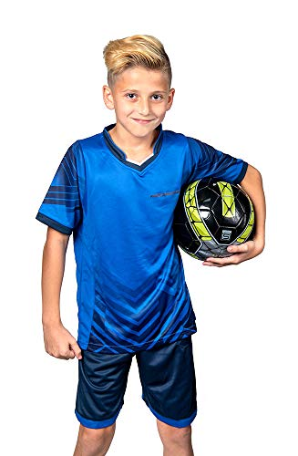 Soccer Jerseys for Kids Boys and Girls Shorts and T-Shirts Sports Wear Set (Large, Blue)