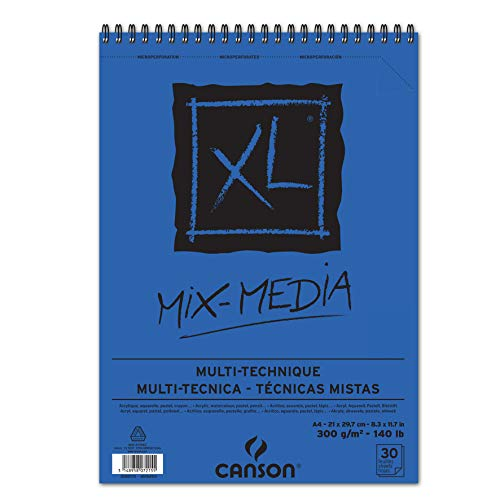 Álbum Espiral Microperforado, A4, 30 Hojas, Canson XL Mix Media, Grano Texturado 300g