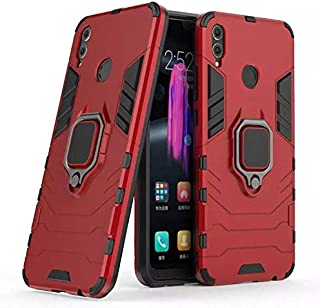 Honor 8X Iron Man Case With Metal Ring & Magnetic Car Holder - Red