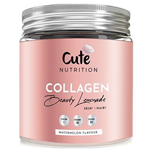 Cute ® Polvo de Collagen Beauty Lemonade sabor Sandía | Mejora el Cabello, Piel, Uñas | 250gr