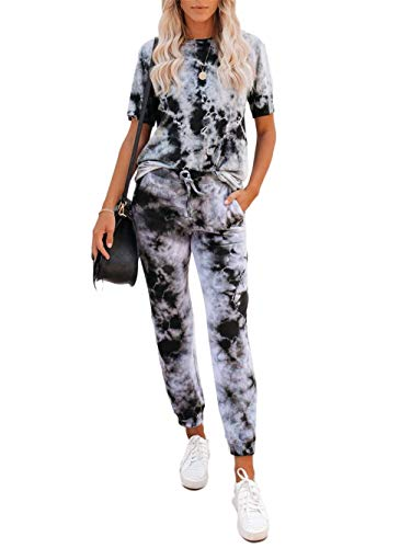 2 Piece Outfits for Women Tie Dye Sweatsuit Casual Short Sleeve T-Shirts Yoga Tracksuit Long Pants Lounge Sets