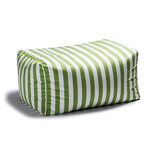 Jaxx Leon Outdoor Bean Bag Ottoman, Lime Stripes