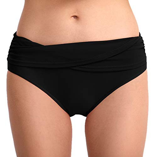 CAMLAKEE Bikini Pantalon Mujer - Braguita de Bikini con Fruncida y Detalle Plegado - Braga Bikini Culotte de Talle bajo