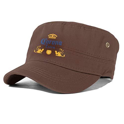 GGdjst Corona Extra bier dames platte pet platte rand hoed effen rand honkbalpet - bruin - Een maat
