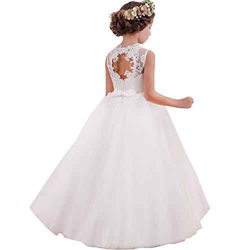 LZH Vestido de Niñas Cordón Blanco Princesa sin Respaldo Vestidos de Novia