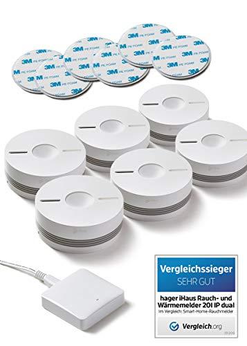 Rauchmelder 6er Set - Funk Vernetzbar + Dual Version + WLAN Gateway + Magnethalterung + Lithium 10 Jahres Batterie von iHaus Smart Home (VDs - DIN EN 14604)