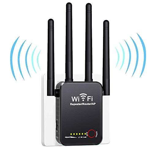 BIGFOX Ripetitore WiFi Wireless 1200Mbps WiFi Extender 2.4Ghz/5Ghz Dual Band con modalità AP/Ripetitore/Router, Amplificatore Segnale Wi-Fi Potente per Casa con 4 Antenne, 2 Porta LAN/WAN e Botón WPS