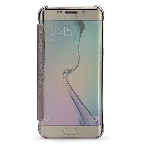 Compatibile with Samsung Galaxy S7 Edge,Clear View Flip Cover Mirror Custodia Funzione Standing Fondina Case Cassa per Galaxy S7 (Argento, Samsung Galaxy S7 Edge)