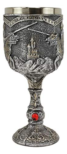 Ebros Gift Medieval Castle Royal Charging Jostling Horse Knights Tournament Of Kings Chivalry Wine Goblet Beverage Drink Chalice Cup Figurine