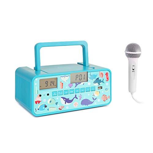 AUNA Kidsbox - Boombox CD, Lecteur CD, Micro Portable, Bluetooth, Port USB, écran LCD, sur Piles/Secteur, Prise Casque 3,5 mm - Turquoise Ocean