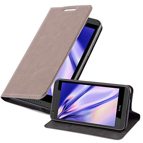 Cadorabo Hülle für HTC Desire 820 - Hülle in Kaffee BRAUN – Handyhülle mit Magnetverschluss, Standfunktion & Kartenfach - Case Cover Schutzhülle Etui Tasche Book Klapp Style