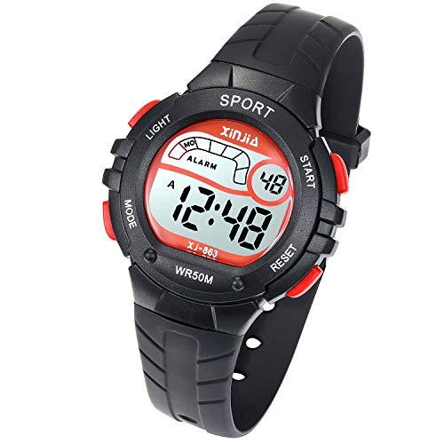Reloj Digital para Niño Niña,Chicos Chicas 50M(5ATM) Impermeabl Deportes al Aire Libre LED Multifuncionales Relojes de Pulsera con Alarma para Niños,Niñas(Negro)