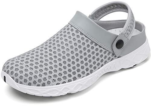 SAGUARO Damen Hausschuhe Herren Clogs Sommer Gartenschuhe Pantoletten Comfort Sandalen Trekking Aquaschuhe Strand Schuhe rutschfest Grau Clogs 44
