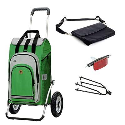 Andersen Einkaufstrolley Royal luftbereift mit Fahrrad-Anhängerkupplung und 62 Liter Einkaufstasche Hydro 2.0 grün mit Kühlfach, extra Laptoptasche