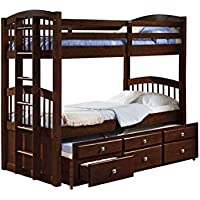 Donco Kids 134-3-Ttcp Angelica Captains Trundle Bunk Bed (Twin / Dark Cappuccino)