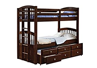 Donco Kids 134-3-Ttcp Angelica Captains Trundle Bunk Bed, Twin/Twin/Twin, Dark Cappuccino (B00KSEG9R6) | Amazon price tracker / tracking, Amazon price history charts, Amazon price watches, Amazon price drop alerts