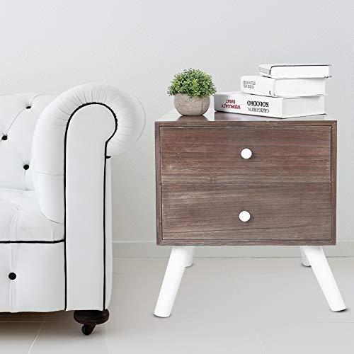 Comodino in legno, stile retrò, comodino in legno, con 2 cassetti, per soggiorno, camera da letto, 43 x 35 x 49,5 cm