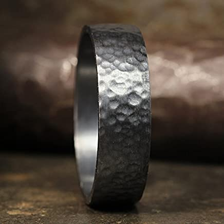 FREE Sizing /& Engraving 5mm Hand Forged Hammered 18K Rose Gold over 925 Sterling Silver Handcrafted Flat Pipe Cut Thick Wedding Band Ring