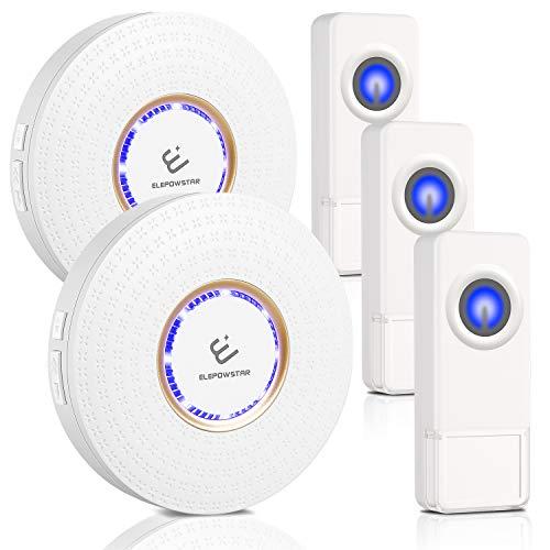 Drahtlose Funkklingel Set, ELEPOWSTAR IP55 Wasserdicht Kabellose Türklingel, Wireless Doorbell, Tür Klingel für Haus/Büro/Garten (3 Sender & 2 Empfänger)