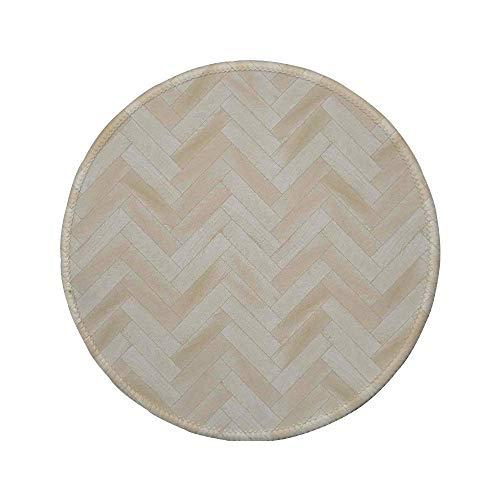 Rutschfreies Gummi-Rundmaus-Pad Beige Realistischer Holzboden Chevron Eiche Parkett Artprint Urban Modern Diagonal Dekorativ Home Dekorativ Beige 7,9 'x 7,9' x3MM