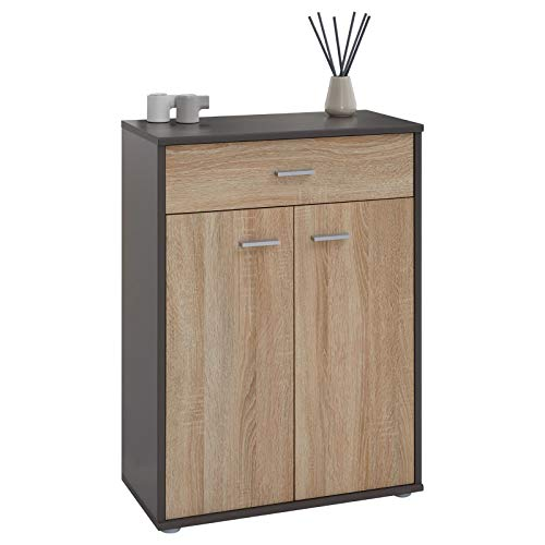 IDIMEX Buffet Calais, Commode Meuble de Rangement avec 1 tiroir et 2 Portes, en mélaminé Gris Mat et décor chêne Sonoma