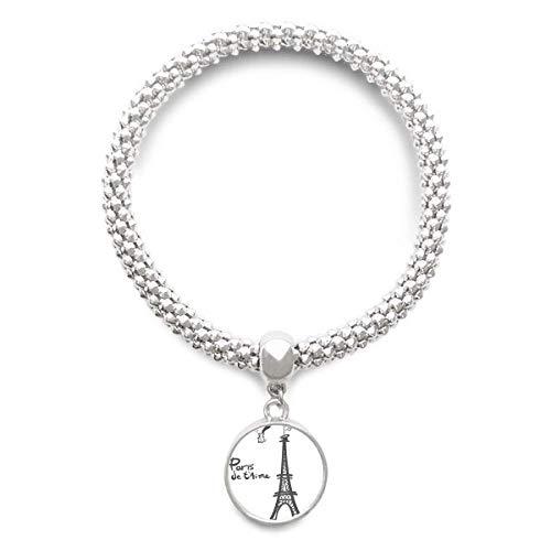 DIYthinker Línea de joyería de Cadena del Dibujo de la Silueta de la Torre Eiffel de París Astilla Pulsera Pendiente Redondo