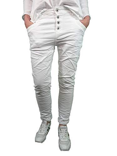 Karostar by Lexxury Denim Stretch Baggy-Boyfriend Jeans Boyfriend 4 bottoni aperti bianco XXXL