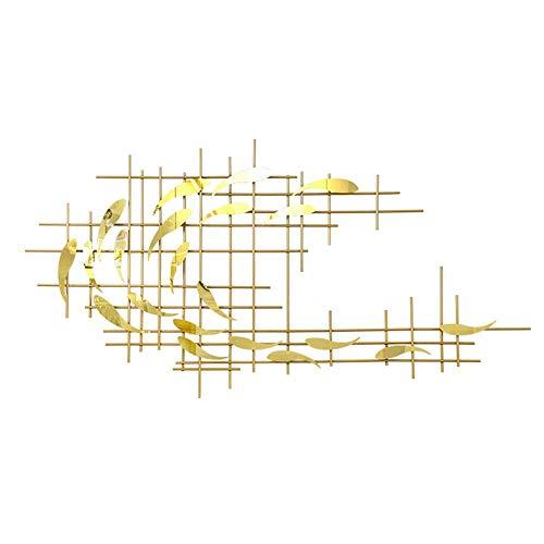 Cuadro de pared de metal forjado a mano, diseño abstracto, gran escuela de peces, decoración de pared de acero inoxidable para salón