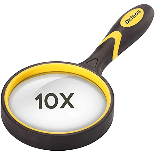 Dicfeos 10X Shatterproof Magnifying Glass Handheld Reading Magnifier, 75mm Non-Scratch Quality Glass Lens, Thickened Rubbery Frame, 4.5oz Lightweight, Perfect for Seniors & Kids