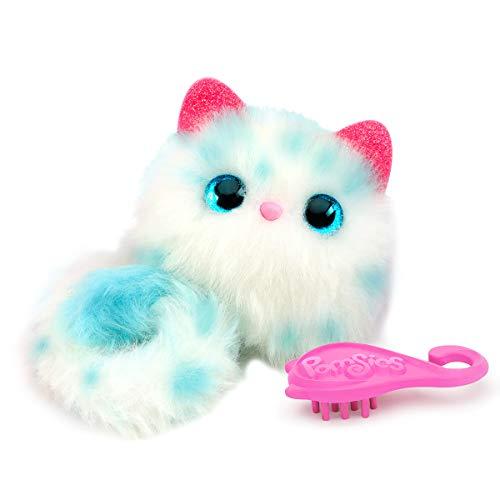 Bandai - Pomsies - Snwoball - Weiss-blaues Kätzchen - Interaktives Kuscheltier, das sich überall befestigen lässt - 82789