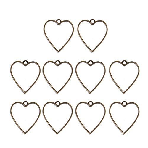 Shefii - 10 colgantes con marco de resina geométrica hueca para hacer joyas