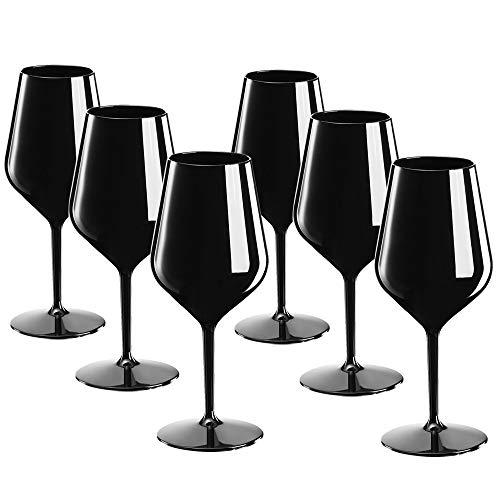 DoimoFlair Weingläser aus Kunststoff bruchsicher Weinbecher Sektgläser Plastik Schwarz 46 cl. Set 6 Stück