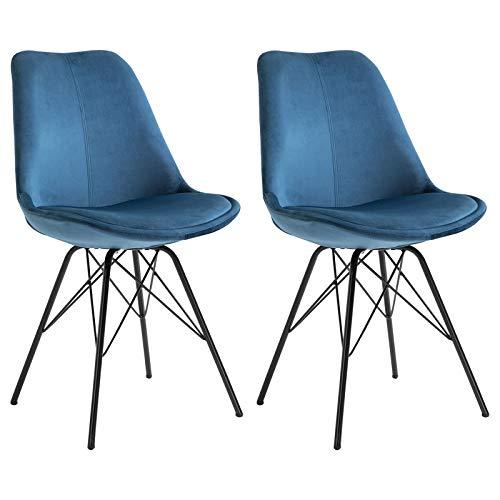IDIMEX Esszimmerstuhl Everest modern und zeitlos, Küchenstuhl Essstuhl Polsterstuhl Stühle Esszimmer Esstisch, Samtstoffbezug in blau