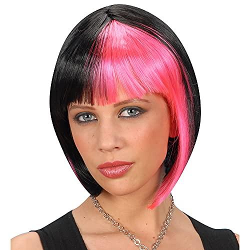 Widmann Zoey - Perruque noire striée rose pour accessoires cheveux déguisement